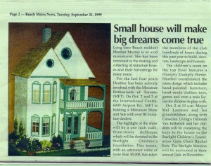 Miniature Dollhouse - for charity - article in the beach news