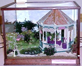 Dollhouse Miniature Second Prize ribbon - Gazebo in a Vineyard by the Pond
