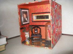 Dollhouse Miniature - Kleenex box cover with a Chinese scene