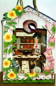 Dollhouse Miniature - Kleenex box cover with a view - Judy's garden shed