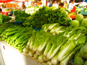 Vegetables at local wet market in China