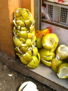 Pomello skins at Local Wet Market