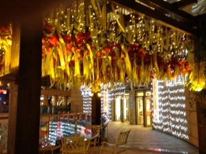 Wangfujing Mall - hanging ribbon wrapped calalilies