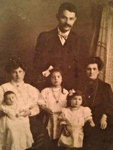 My great grandfather, great grandmother, grandmother, great great aunt, great aunts and great uncle taken in early 1900 in Hamilton, Ontario, Canada
