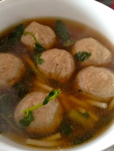 udon or rice noodle soup recipe with pork balls