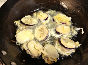 Stuffed Eggplant Chinese Style - deep-frying