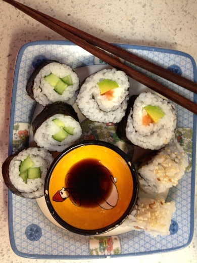 Clockwise left to right: Cucumber Sushi, Salmon, Avocado and Cream Cheese Sushi, and California Rolls