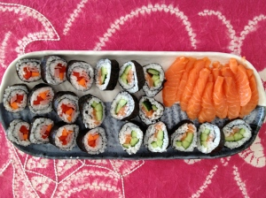 Sushi and Salmon Sashimi