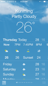 Weather in Kunming, China today